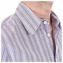 ARMANI JEANS Eco Wash Blue/White Woven Striped Regular Fit Shirt