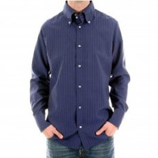 Eco Wash Navy Pinstripe Regular Fit Long Sleeve Shirt