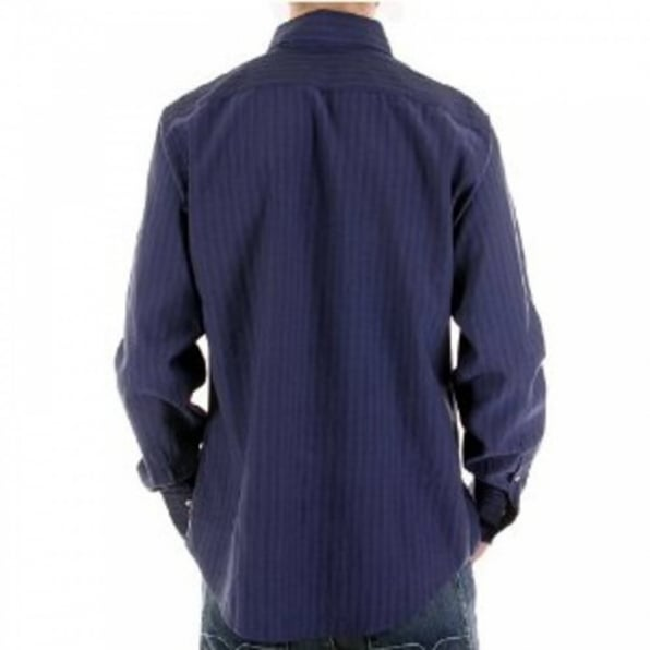 ARMANI JEANS Eco Wash Navy Pinstripe Regular Fit Long Sleeve Shirt