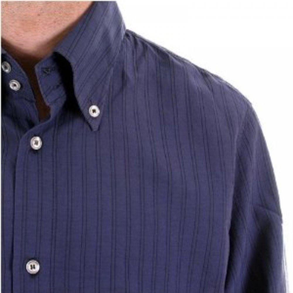 ab22772290 ... ARMANI JEANS Eco Wash Navy Pinstripe Regular Fit Long Sleeve Shirt ...