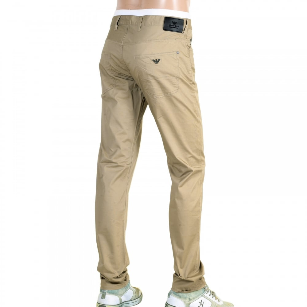 3a53a7c04bfb ARMANI JEANS Extra Slim Fit J10 Beige Lightweight Stretch Cotton Jeans with  Low Waist Tight Leg and Zip Fly