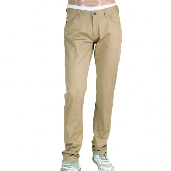ARMANI JEANS Extra Slim Fit J10 Beige Lightweight Stretch Cotton Jeans with Low Waist Tight Leg and Zip Fly