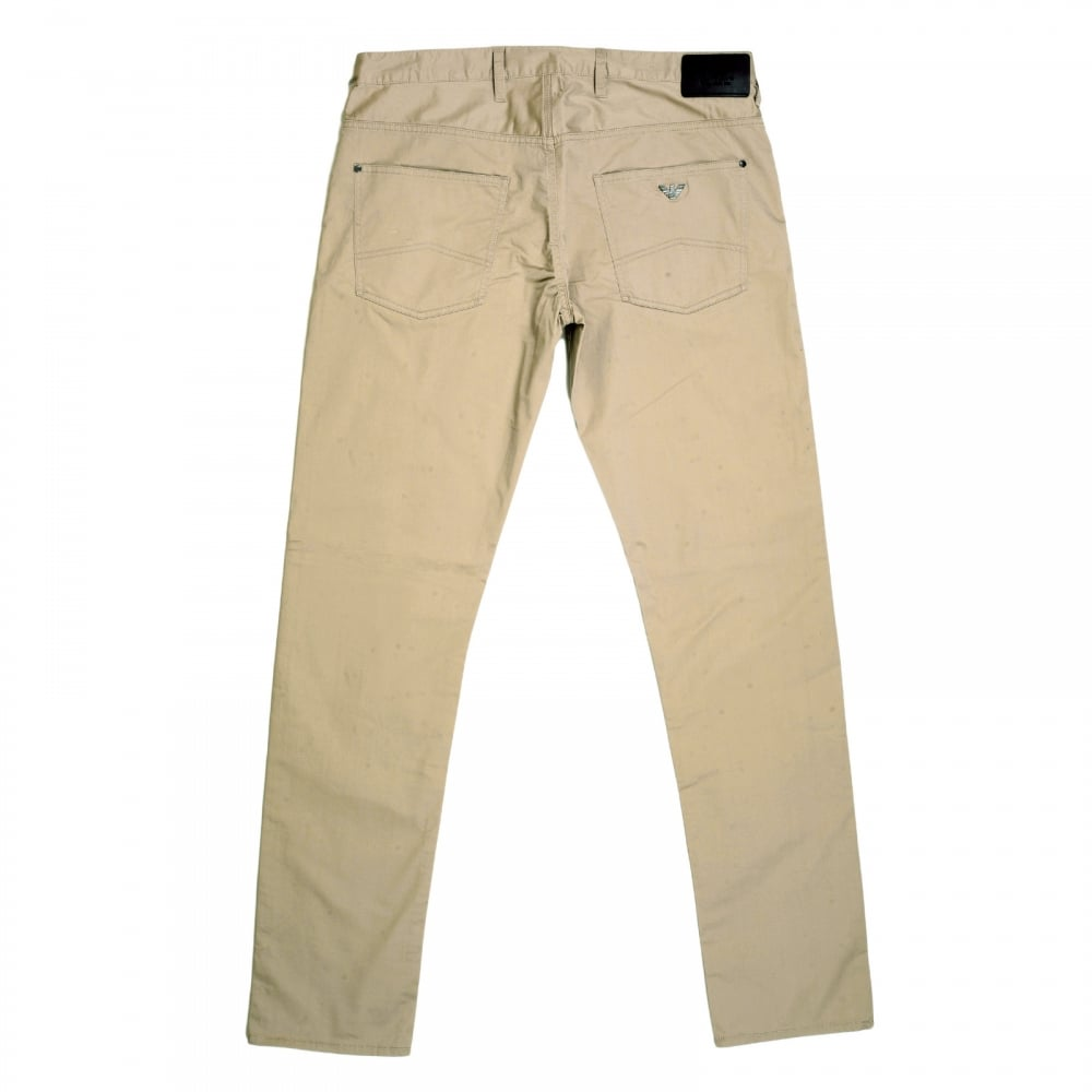 cfd00bc89f4c ARMANI JEANS Extra Slim Fit J10 Beige Lightweight Stretch Cotton Jeans with  Low Waist Tight Leg ...