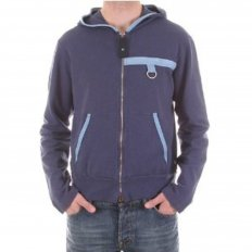 Fitted Long Sleeve Zipped Hoody in Blue