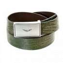 ARMANI JEANS Fully Reversible Dark Green and Chocolate Brown Mock Croc Leather Belt