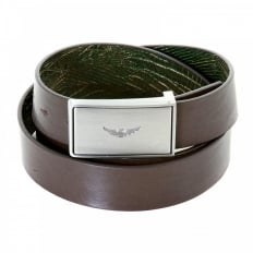 Fully Reversible Dark Green and Chocolate Brown Mock Croc Leather Belt