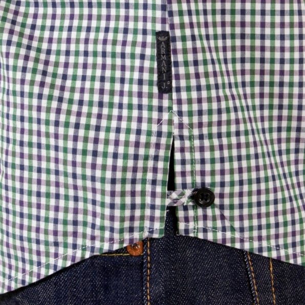 ARMANI JEANS Green multi check Long Sleeve Shirt