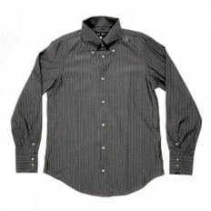Grey Button Down Collar Regular Fit Long Sleeve Shirt