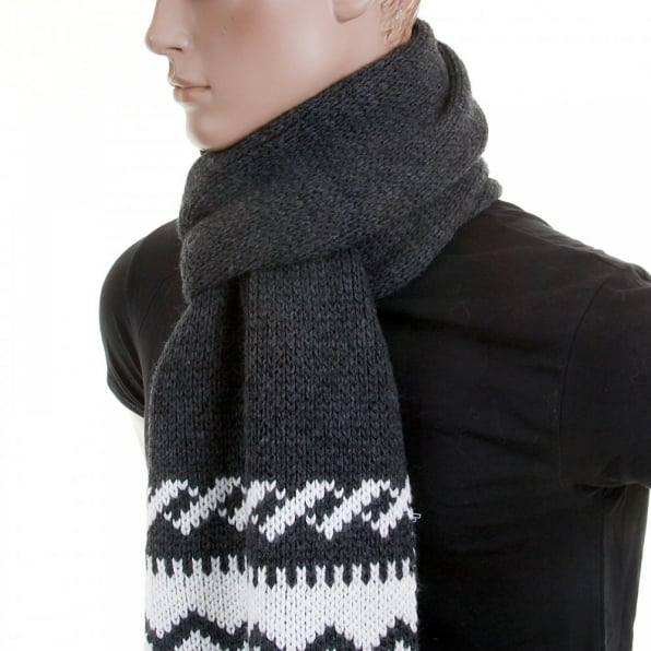 ARMANI JEANS Heavier Knit Mid Grey Wool Mix Scarf