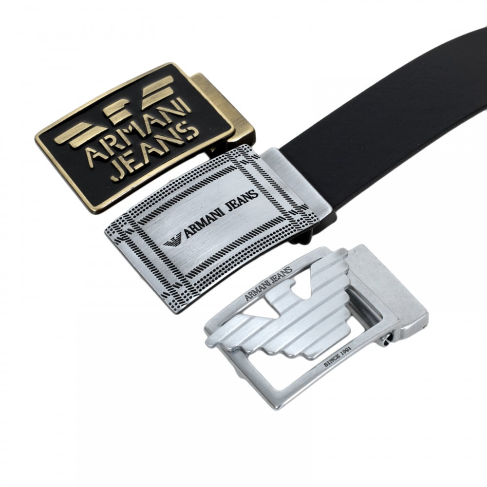 shop for mens black belt with 3 interchangeable buckles