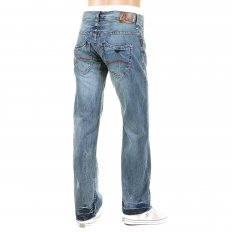 Light Stonewash Regular Fit Low Waist Straight Leg Denim Jeans