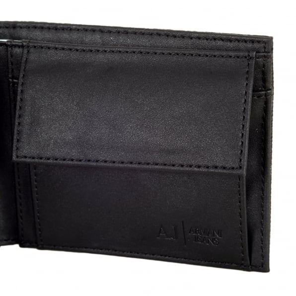 ARMANI JEANS Logo 06V57 J4 Double Billfold 100% PVC Wallet Coin Pouch in Black