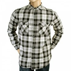 Long Sleeve Black and Grey Quadri Check Grandad Shirt