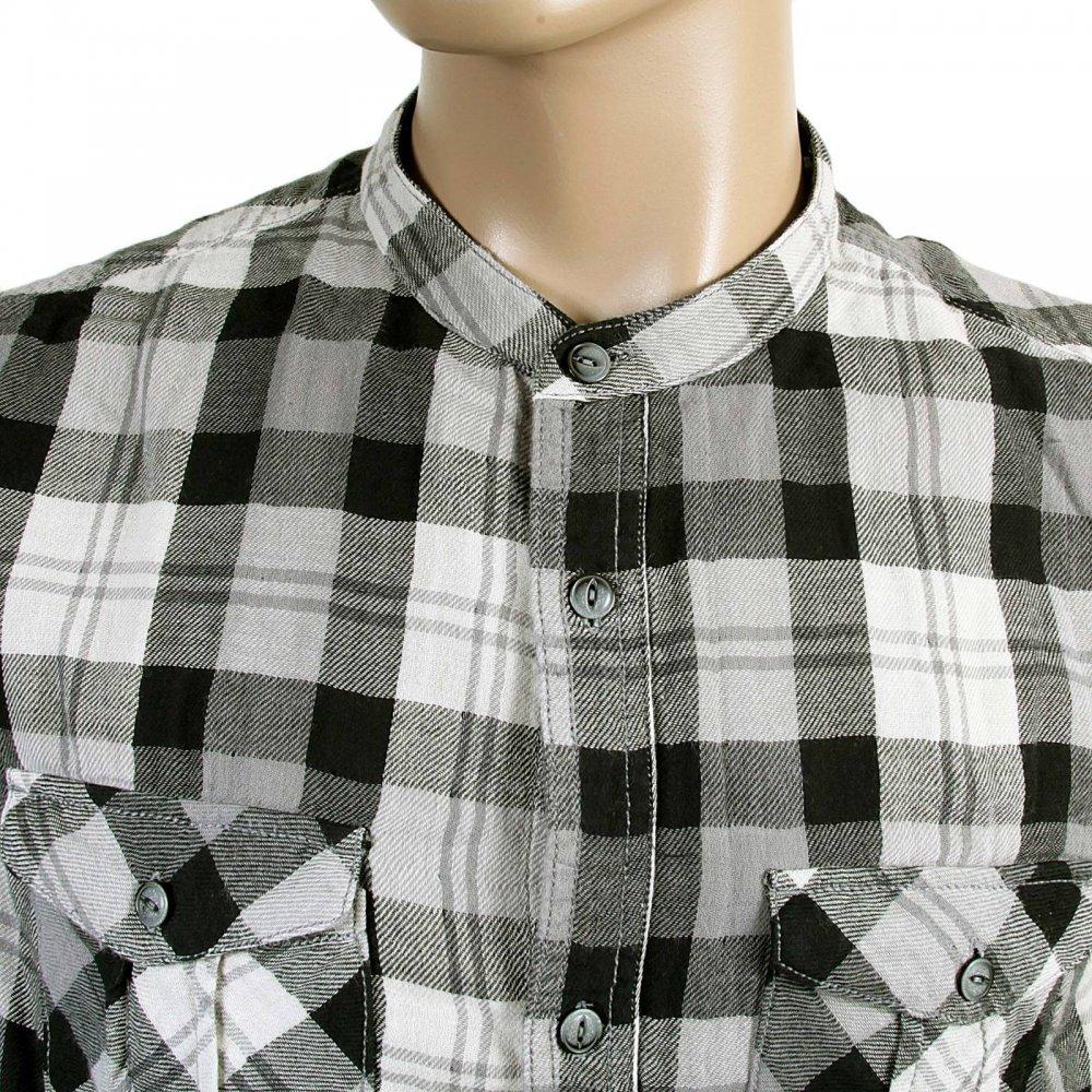 Buy Black And Grey Checked Mens Grandad Shirt By Armani