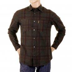 Long Sleeve Regular Fit Brown Tartan Style Check Shirt