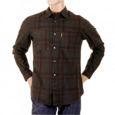 Long Sleeve Regular Fit Brown Tartan Style Check Shirt