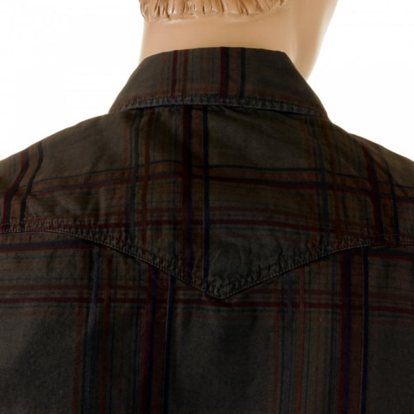 ARMANI JEANS Long Sleeve Regular Fit Brown Tartan Style Check Shirt