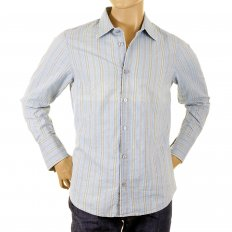Long Sleeve Regular Fit Washed Blue Cotton Woven and Stitched Striped Shirt