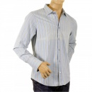 ARMANI JEANS Long Sleeve Regular Fit Washed Blue Cotton Woven and Stitched Striped Shirt