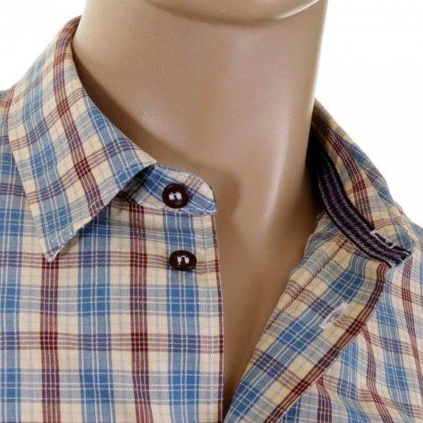 ARMANI JEANS Long sleeve regular fit woven check shirt.