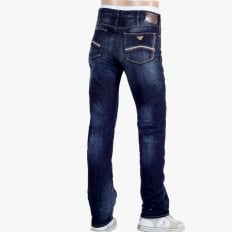 Made in Italy J91 Stretched Denim Jeans with Frayed Patches and Staining