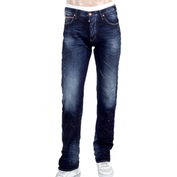 ARMANI JEANS Made in Italy J91 Stretched Denim Jeans with Frayed Patches and Staining