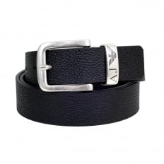 Mens Black 06196 R6 Leather Belt with Brand AJ and Signature Eagle logo on Metal Belt Loop