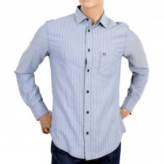 Mens Blue Striped Long Sleeve Soft Collar Shirt