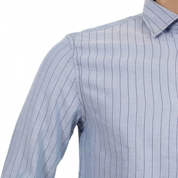 ARMANI JEANS Mens Blue Striped Long Sleeve Soft Collar Shirt