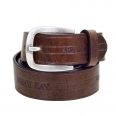 Mens Casual Brown Variegated Leather Belt with Q6120 C7 Text Logo and Dull Metal Rectangular Buckle