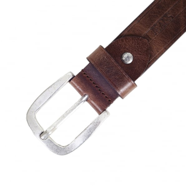 ARMANI JEANS Mens Casual Brown Variegated Leather Belt with Q6120 C7 Text Logo and Dull Metal Rectangular Buckle