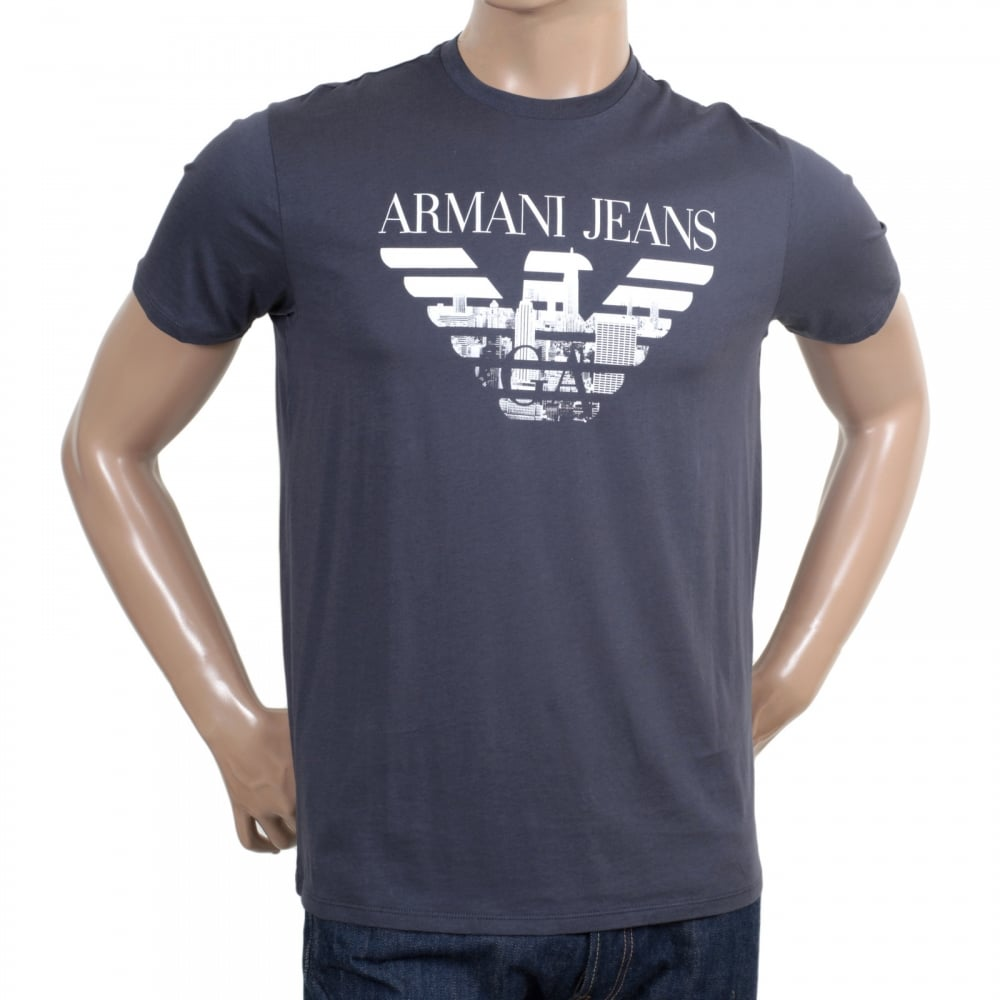 Black t shirt armani - Armani Jeans Mens Classic Fit Crew Neck Cotton Made Short Sleeve Black T Shirt With Eagle