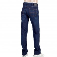 Mens Dark Indigo Comfort Regular Fit Stretch Blue Denim Jeans