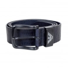 Mens Dark Navy Blue Casual Leather Belt with Silver Signature Eagle Logo Embossed Metal Belt Loop
