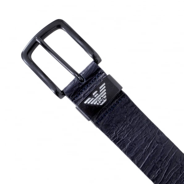 ARMANI JEANS Mens Dark Navy Blue Casual Leather Belt with Silver Signature Eagle Logo Embossed Metal Belt Loop
