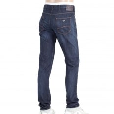 Mens Dark Rinsed Stretch Blue Denim Low Waist Tight Leg Slim Fit Jeans with Zip Fly