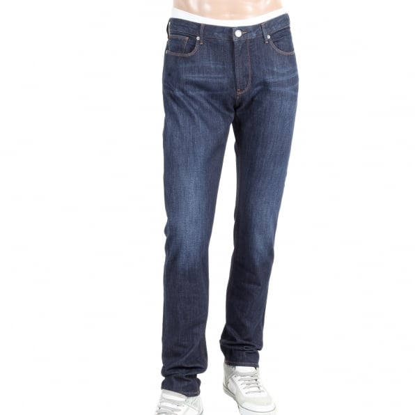 ARMANI JEANS Mens Dark Rinsed Stretch Blue Denim Low Waist Tight Leg Slim Fit Jeans with Zip Fly