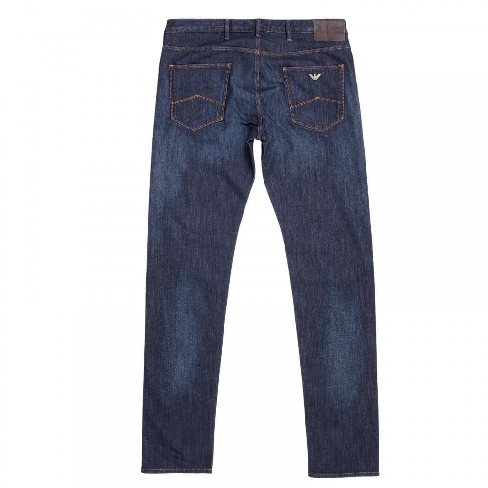 ... ARMANI JEANS Mens Dark Rinsed Stretch Blue Denim Low Waist Tight Leg  Slim Fit Jeans with
