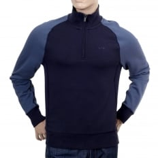 Mens High Neck Full Sleeve Classic Half Zip Navy Sweatshirt with Raglan Sleeves and Signature AJ Eagle Logo