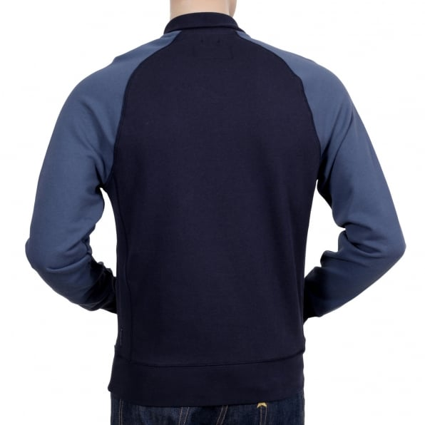 ARMANI JEANS Mens High Neck Full Sleeve Classic Half Zip Navy Sweatshirt with Raglan Sleeves and Signature AJ Eagle Logo