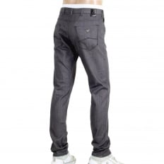 Mens J06 Low Waist Tight Leg Slim Fit Jeans in Grey with Embossed Waistband Button and Rivets