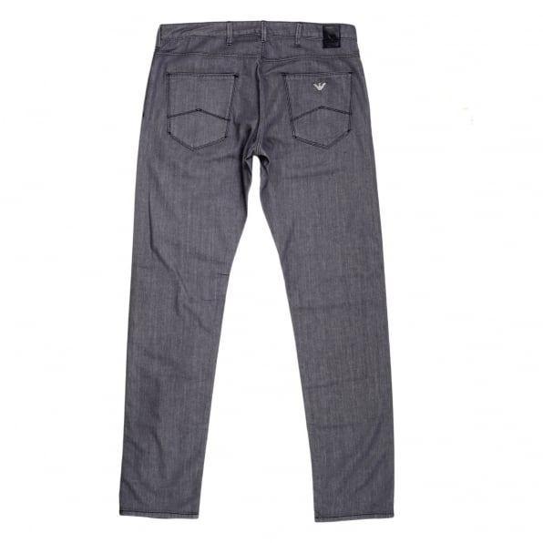 ARMANI JEANS Mens J06 Low Waist Tight Leg Slim Fit Jeans in Grey with Embossed Waistband Button and Rivets