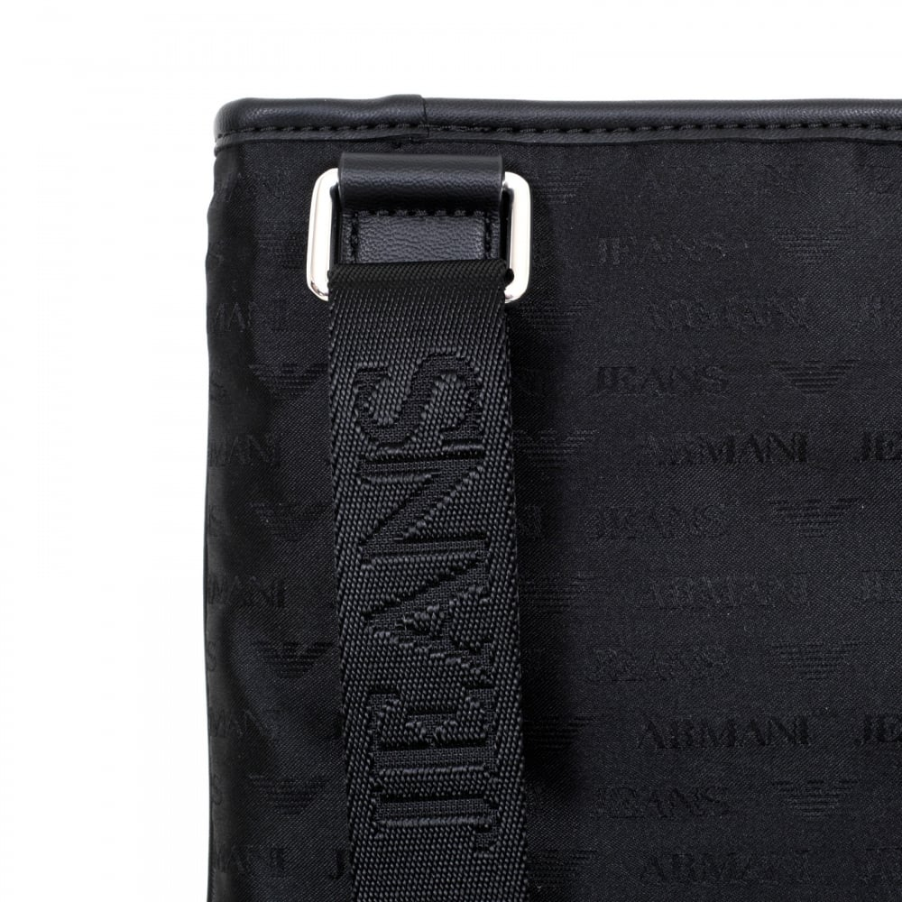 ... ARMANI JEANS Mens Jacquard Monogram and Eagle Logo Black Bag with Top  Zip Closure and Front ... c894047a92ad1