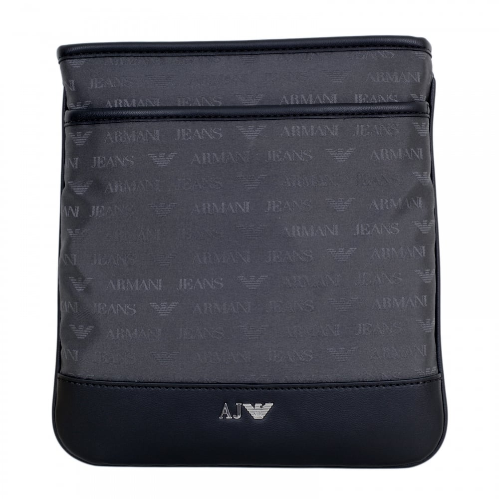 ... ARMANI JEANS Mens Jacquard Monogram and Eagle Logo Grey Bag with Top  Zip Closure and Front ... 1622d678350df