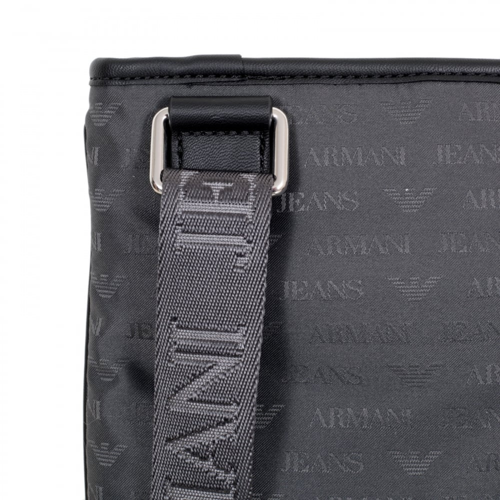3d82b2283231 ARMANI JEANS Mens Jacquard Monogram and Eagle Logo Grey Bag with Top Zip  Closure and Front Pocket