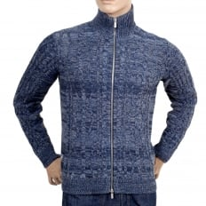 Mens Knitted Full Sleeve Cotton and Wool Mix High Neck Full Sleeve Blue Zip Up Cardigan with Cable Knit Front