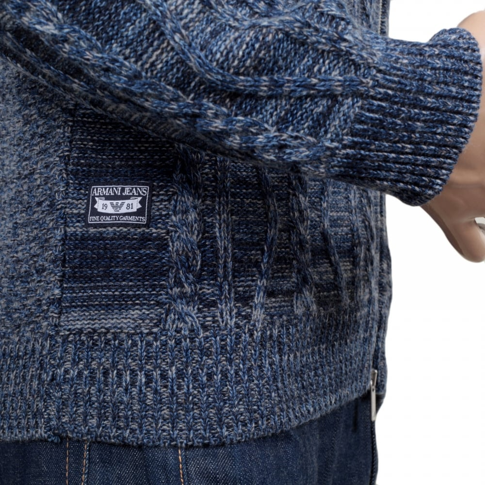 Best Mens Zip Up Knitted Jumper In Blue From Armani Jeans