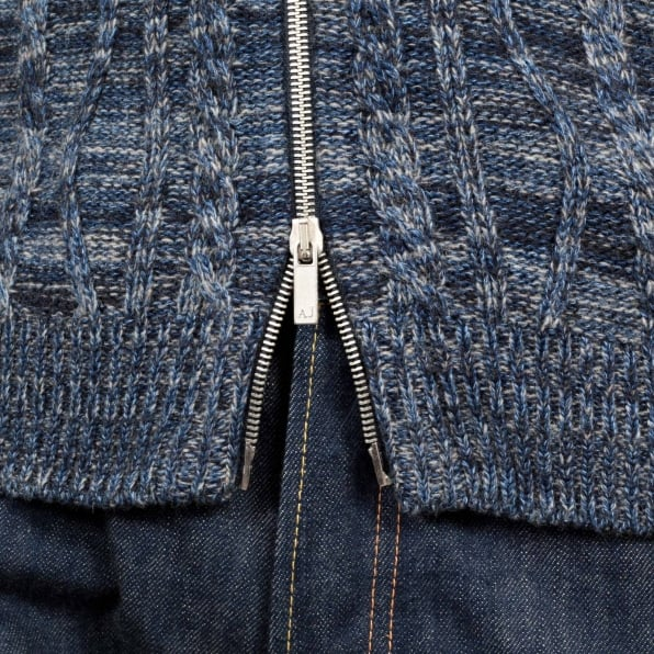 ARMANI JEANS Mens Knitted Full Sleeve Cotton and Wool Mix High Neck Full Sleeve Blue Zip Up Cardigan with Cable Knit Front