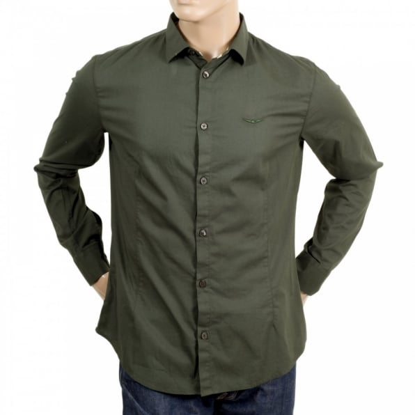 ARMANI JEANS Mens Long Sleeve Green Stretch Cotton Slim Fit Shirt