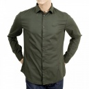 ARMANI JEANS Mens Long Sleeve Green Stretch Cotton Slim Fit Shirt